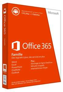 Office 365 Famille : Office pour 5 personnes + tablette / mobile + Onedrive (10To)