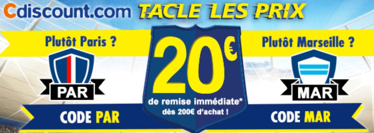 20€ de réduction dès 200€ d'achats