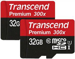 Pack de 2 x 32 Go : Cartes mémoire microSDHC Transcend Classe 10