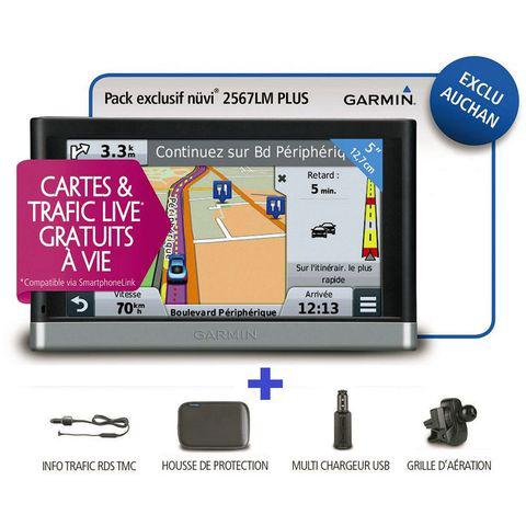 Pack GPS + Antenne TMC + Housse + Grille d'aération + Multi-chargeur  -  Garmin Nuvi 2567LM en ligne et en magasin