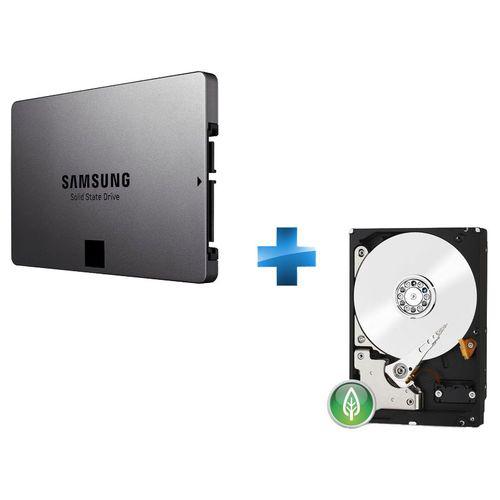 Disque dur 500 Go SSD 840 Evo + Disque dur 1 To WD Green Desktop (SATA III)