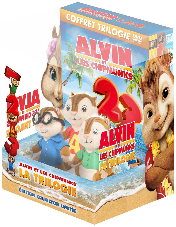 Coffret Trilogie DVD Alvin et les Chipmunks + 1 Peluche