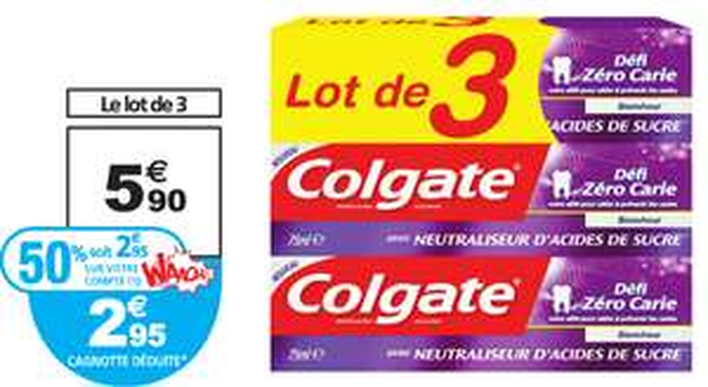 Lot de 3 dentifrices Colgate