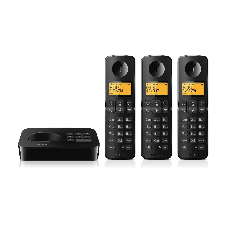 Téléphone fixe sans fil Philips D2153B avec répondeur et 2 combinés supplémentaires