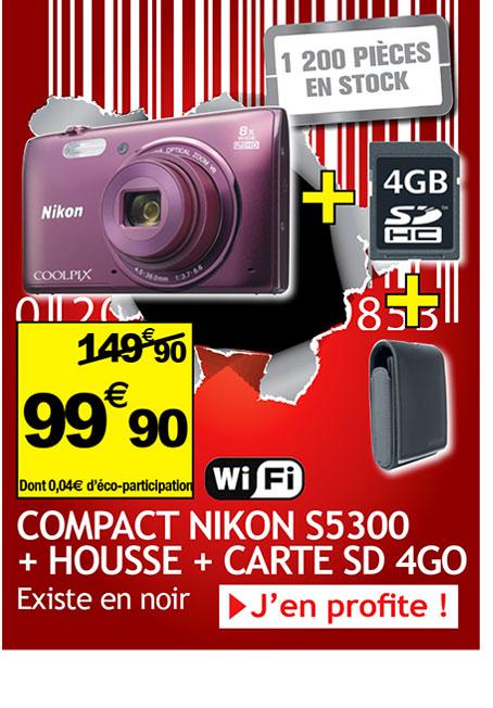 Appareil photo Nikon Coolpix S5300 + Housse + Carte SD 4Go