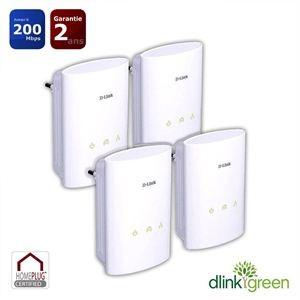4 Prises CPL Courant Porteur en ligne DHP-307 200 Mb/s HD