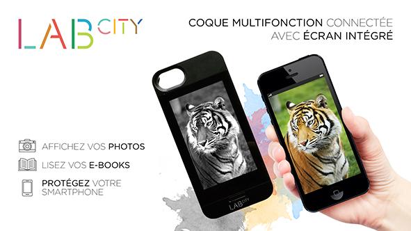 Coque multifonction Lab City E-ink avec écran intégré, pour iPhone 5/5S