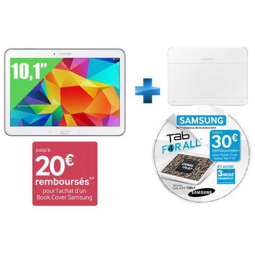 Tablette 10,1'' Samsung Galaxy Tab 4 16 GO blanc + étui Samsung Book Cover (ODR 40€)