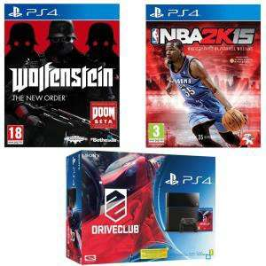 Console PS4 500 Go + DriveClub + Wolfenstein : The New Order + NBA 2K15