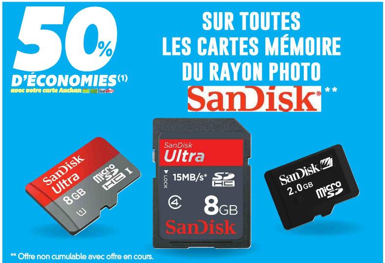 50% de réduction sur toutes les cartes mémoires SanDisk (crédités sur la carte Waaoh)