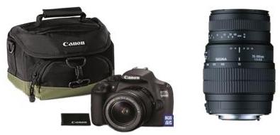 Reflex Canon EOS 1200 + 2 objectifs D 18 - 55 DC III + Sigma DG 70 - 300 mm f/4 - 5.6 Macro + Fourre Tout + Carte mémoire 8 Go