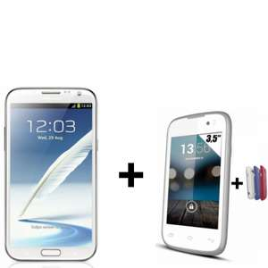 Smartphone Samsung Galaxy Note 2 blanc  + Smartphone Yezz Andy 3.5EI double sim blanc (avec 2 caches batterie offerts)