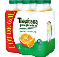 Pack de 6 bouteilles (6x1L) de Tropicana Orange avec ou sans pulpe (20% sur la carte fidélité)