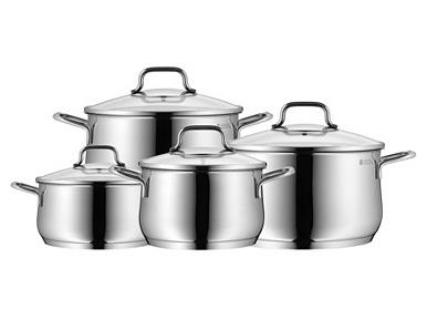 Batterie de cuisine 8 pièces en acier inoxydable  - Tous feux dont induction