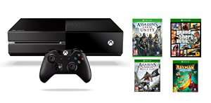 Console Xbox One + GTA V + Assassin's Creed: Unity + Assassin's Creed IV: Black Flag + Rayman Legends