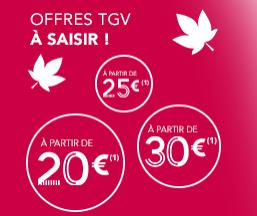 Billets TGV pour voyager jusqu'au 17 décembre