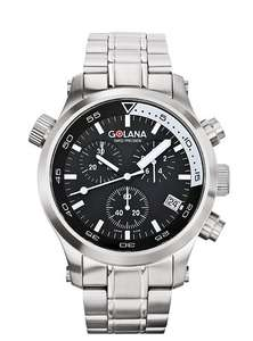 Montre Homme Golana - AQ300-2 - Aqua - Quartz Analogique - Cadran Noir - Bracelet acier