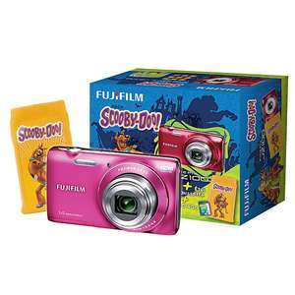 Appareil Photo Finepix JZ100 rose + étui chaussette Scooby-Doo + Carte SD 4Go
