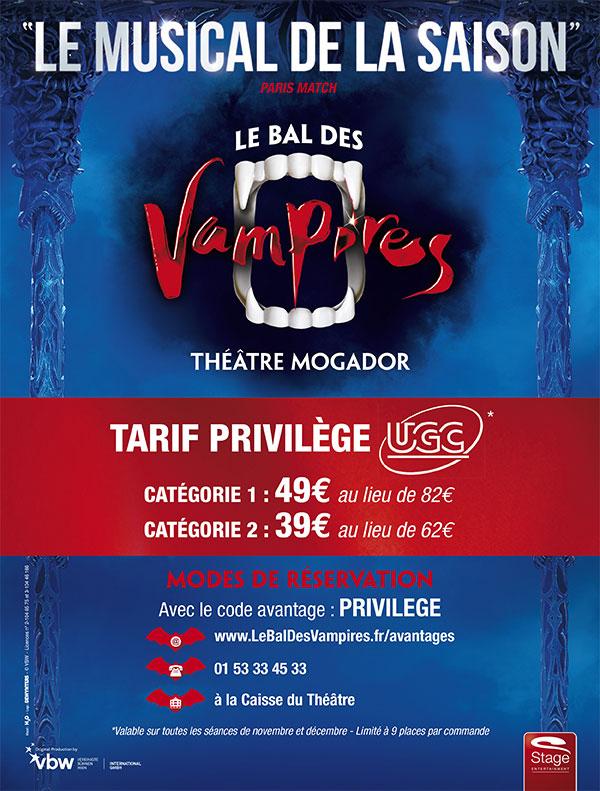 """Places comédie musicale """"le bal des vampires""""- Ex : Cat.2 à 39€"""