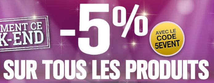 5% de réduction sur tout le site