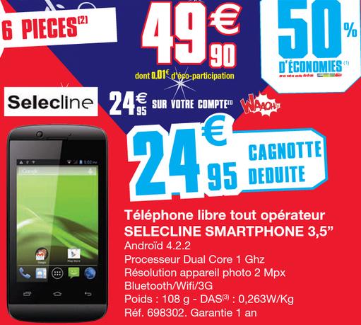"""Smartphone 3.5"""" Selecline Processeur 1Ghz - Android 4.2.2 (50% sur la carte)"""