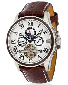 Montre Chronowatch automatique multifonction Lanchester, cadran blanc, bracelet cuir