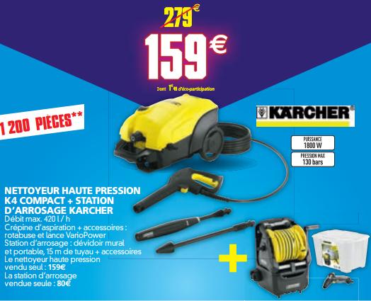 Nettoyeur haute pression Karcher K4 Compact 130 bars + Station d'arrosage murale et portable Karcher