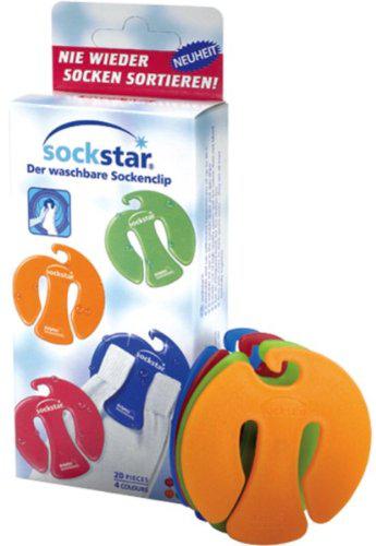 Lot de 20 Pinces à chaussettes Sockstar Basic Line pour machine à laver ou sèche-linge
