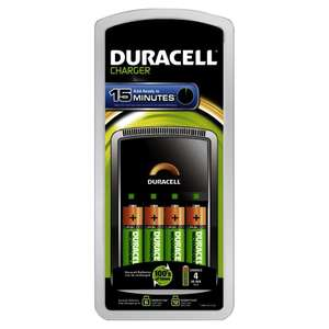 Chargeur rapide - Duracell 15 minutes + 4 piles AA 1300mAh