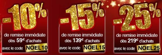 10% de réduction dès 59€ d'achat, 15% dès 139€, 25% dès 219€