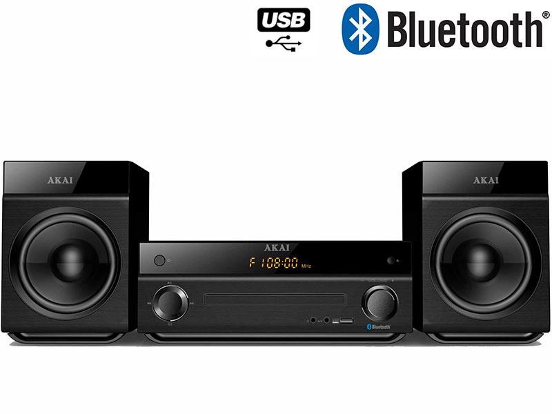 Micro-chaîne Akai AM-301W (CD MP3 Bluetooth et USB) - Noir