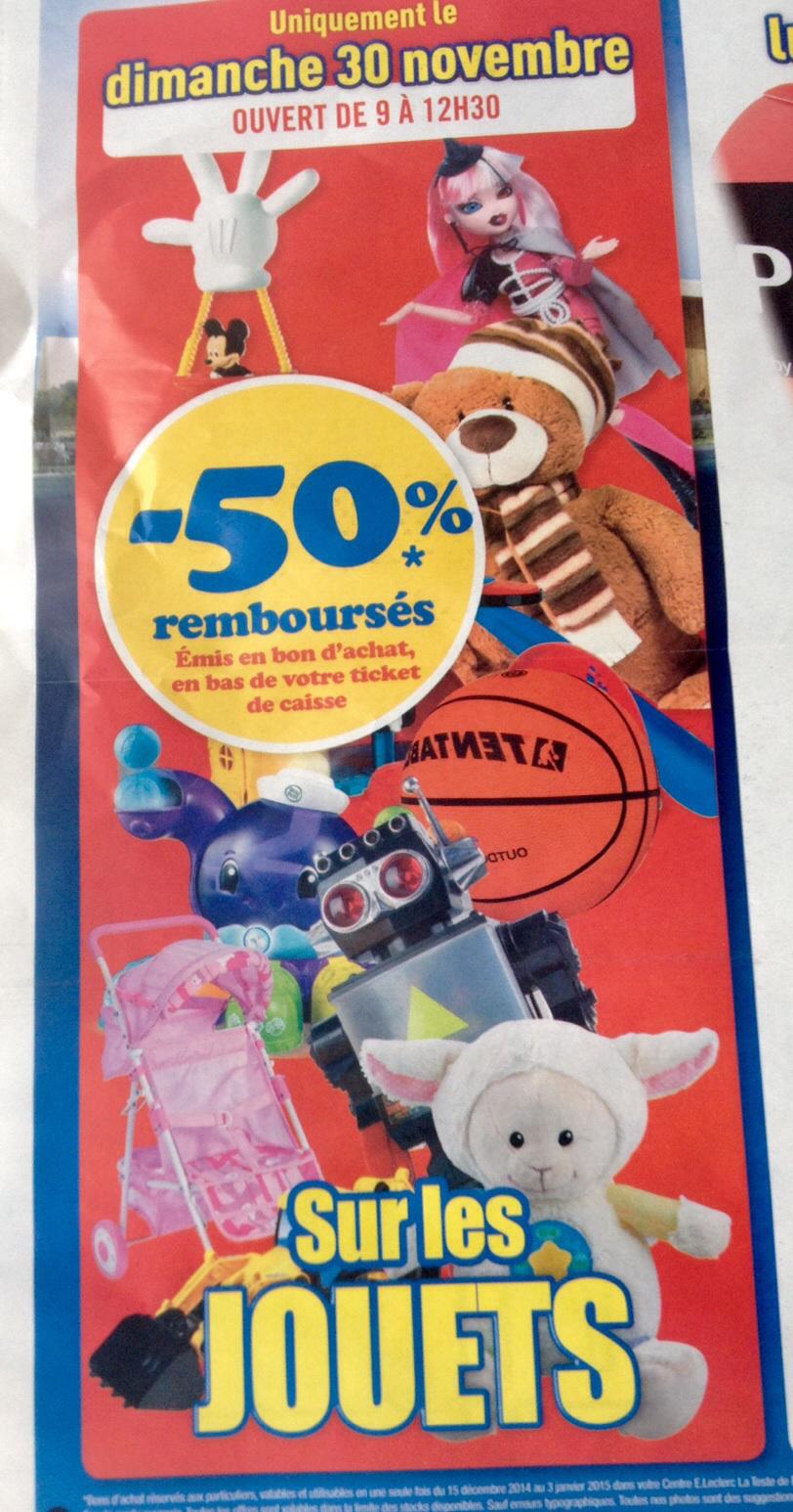 50% remboursés en bon d'achat sur tout les jouets et 30% en bon d'achat sur tout l'informatique