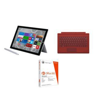 """[Adhérent] Tablette Microsoft Surface Pro 3 12"""" 128 Go + Clavier Rétroéclairé Type Cover Rouge + Office 365"""