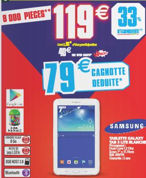 "Tablette 7"" Samsung Galaxy Tab 3 Lite (40€ de cagnotte)"