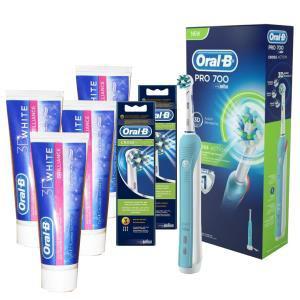 Pack brosse à dents électrique Oral B Pro700 + 4 dentifrices + 6 brossettes