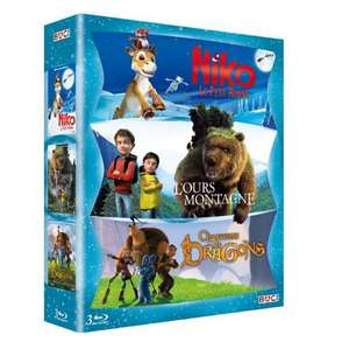 Coffret Blu-ray Aventure animation : Niko le petit renne, L'ours montagne, Chasseurs de dragons