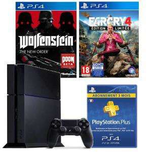 Pack Console PS4 500Go  + Far Cry 4 Limited + Wolfenstein + 3 mois de PSN