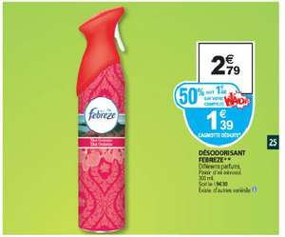 Aérosol désodorisant Febrèze (1,40€ sur la carte Waaoh)