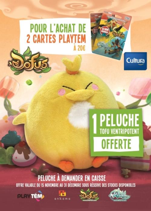1 peluche Tofu Ventripotent offerte pour l'achat de 2 cartes Playtem Dofus / Wakfu à 20€ l'unité
