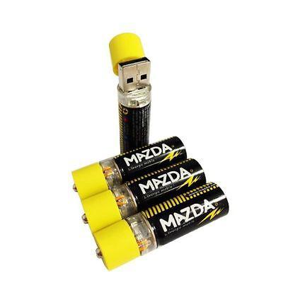 4 piles AA Mazda rechargeables sur port USB avec hub 4 ports et adaptateur secteur fournis