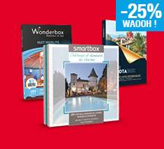 -25% sur la carte Waaoh sur tous les coffrets cadeaux Smartbox, Wonderbox, Dakotabox inférieurs à 100€