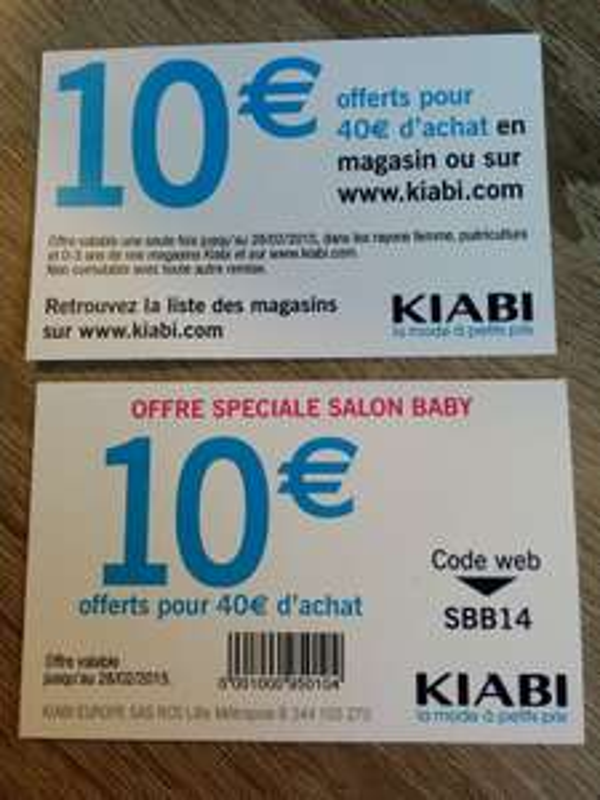 10€ de réduction pour 40€ d'achat sur les rayons Femme, Puériculture et 0-3ans
