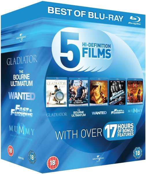 Coffret Blu-Ray 5 films : Gladiator + La Vengeance dans la peau + Wanted + Fast and Furious 4 + La Momie La Tombe de l'empereur Dragon