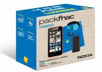 Pack Smartphone Nokia Lumia 635 8 Go Orange + Coque Noire + Casque Nokia WH530 + Smartphone Nokia 530 et Carte Bancaire de 30€ Offerts