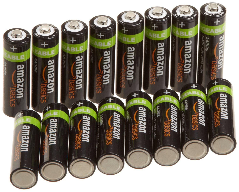 Lot de 16 Piles Rechargeables AmazonBasics - 2000 mAh - AA - Préchargées (LR6)