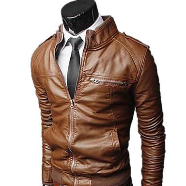 Veste simili cuir marron pour homme