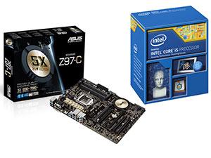 Processeur Intel i5-4690K (3,5 GHz) + Carte mère Asus Z97-C (avec ODR 50€)