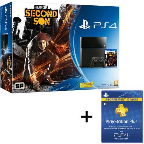 Pack Sony PS4 + Infamous Second Son + 12 mois d'abonnement au PSN+