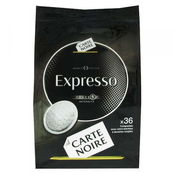 Deux paquets de dosettes souples Carte noire gamme expresso (25% sur la carte / 3€ remboursé / 2€ bon)