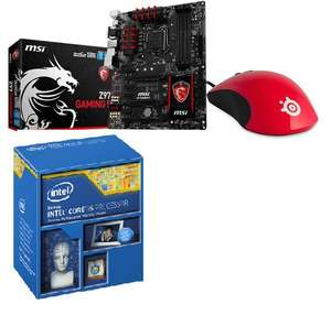 Processeur Intel i5-4690K (3,5 GHz) + Carte mère MSI Z97 Gaming 5 + Souris Steelseries Kinzu V2 red (avec ODR 52,50€)